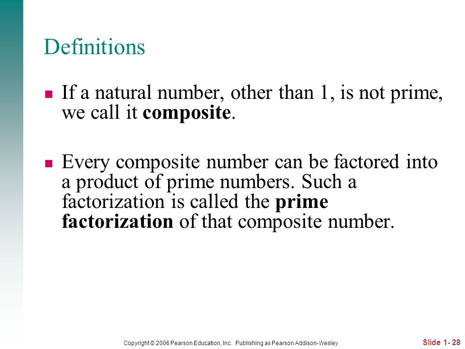 Definitions If a natural number, other than 1, is not prime, we call it composite.