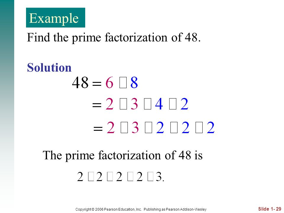 Example Find the prime factorization of 48. Solution