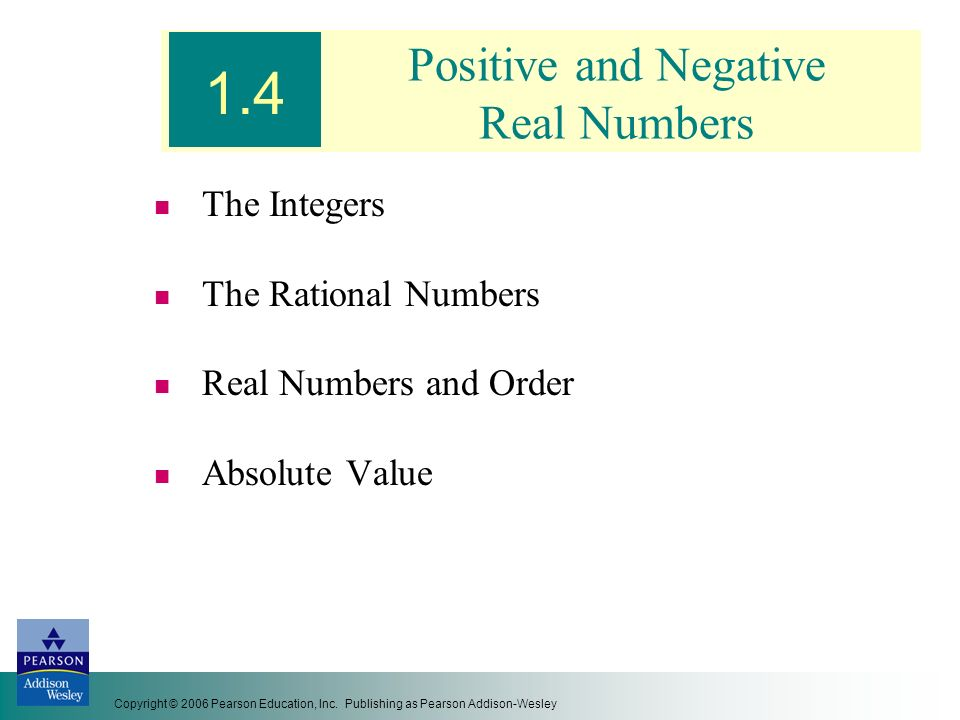 Positive and Negative Real Numbers