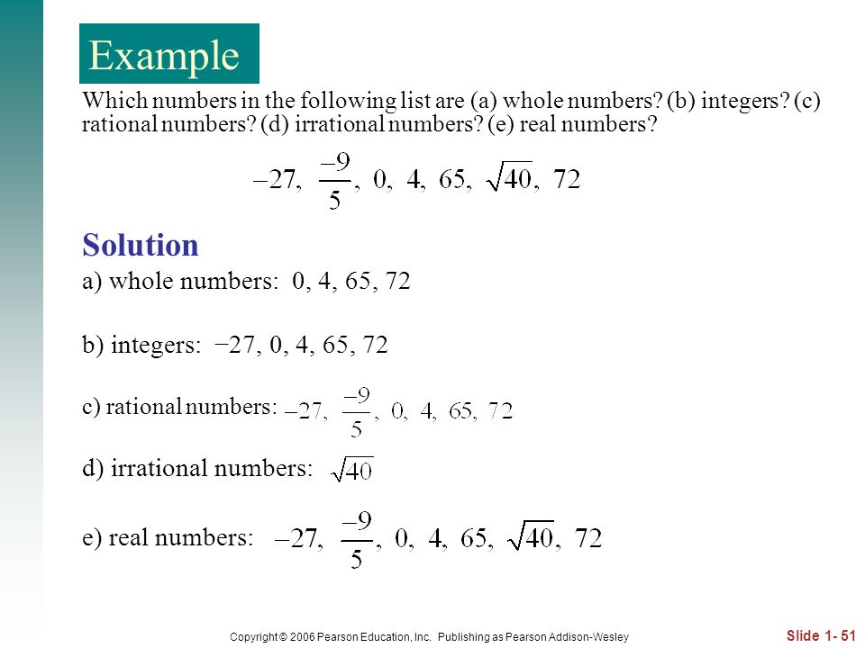 Example Example Solution a) whole numbers: 0, 4, 65, 72