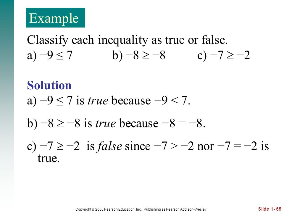 Example Classify each inequality as true or false.