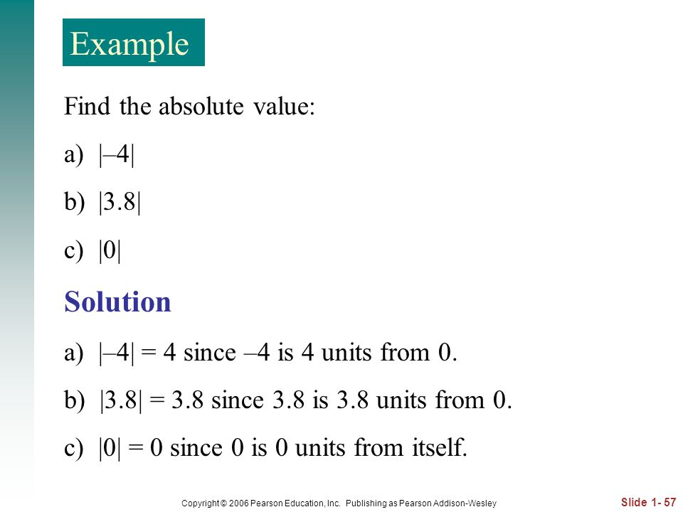 Example Solution Find the absolute value: |–4| |3.8| |0|