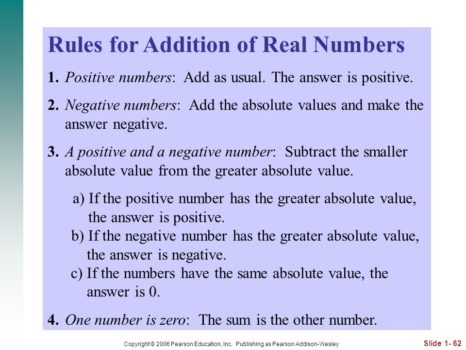 Rules for Addition of Real Numbers