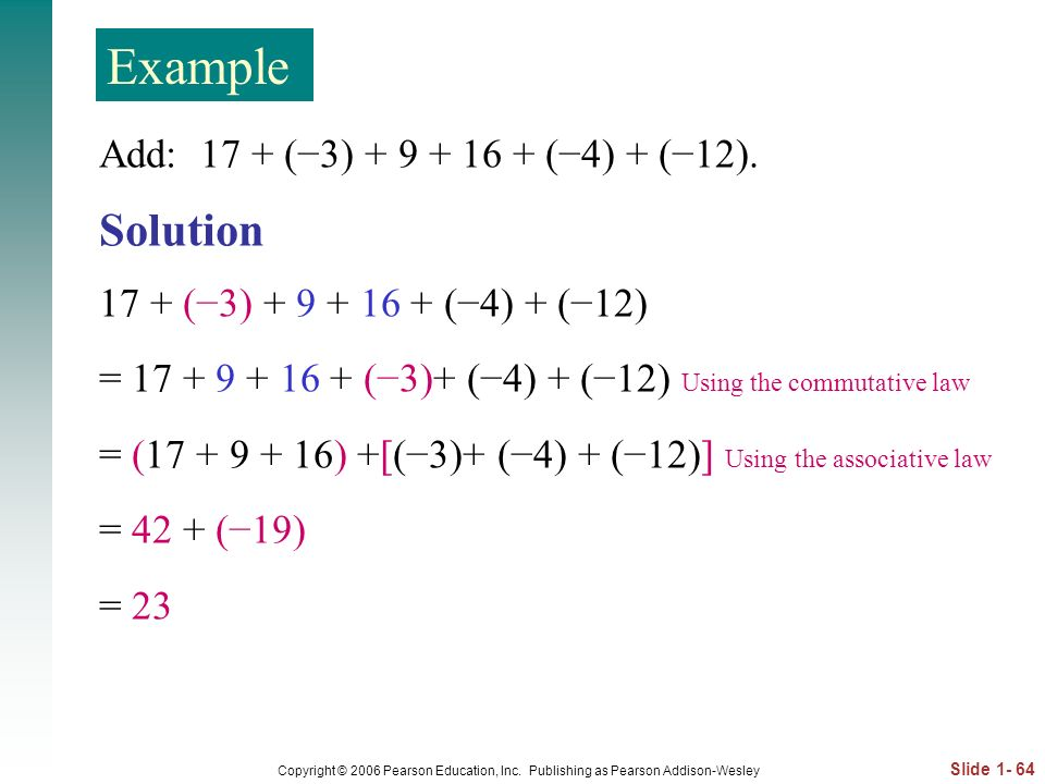 Example Solution Add: 17 + (−3) (−4) + (−12).
