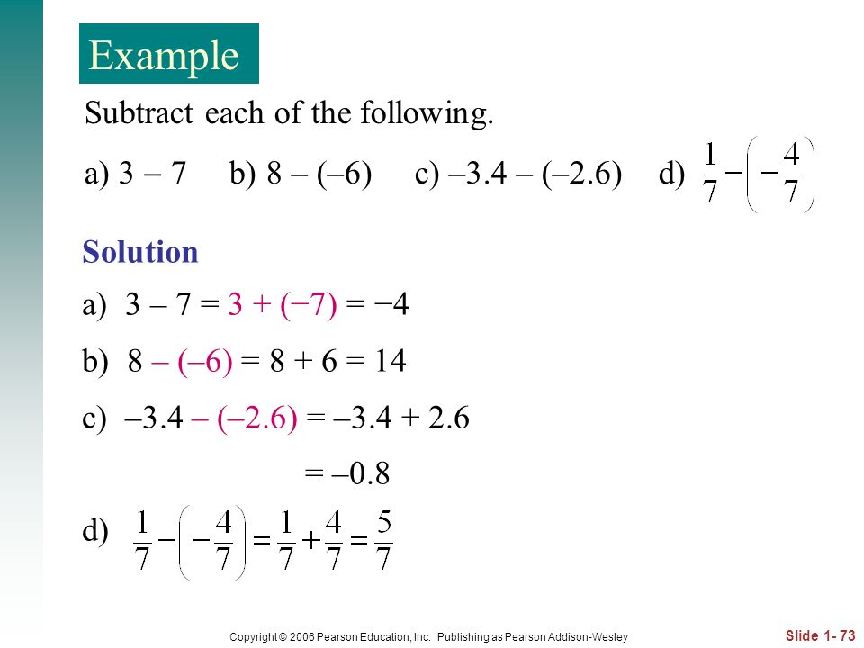 Example Subtract each of the following.