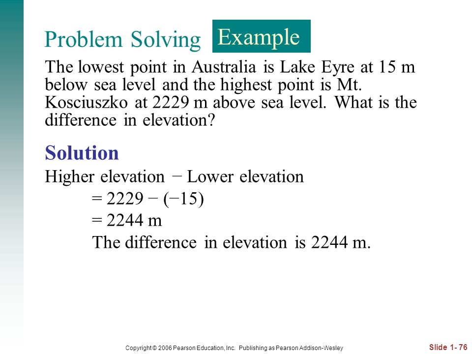 Problem Solving Example Solution