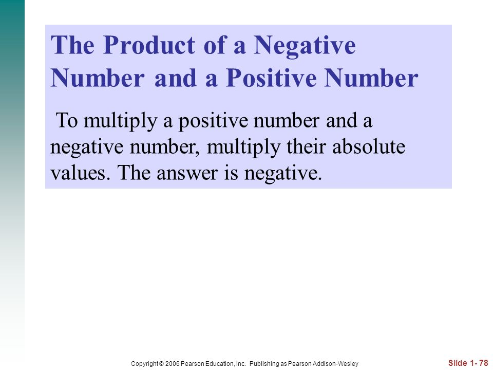 The Product of a Negative Number and a Positive Number