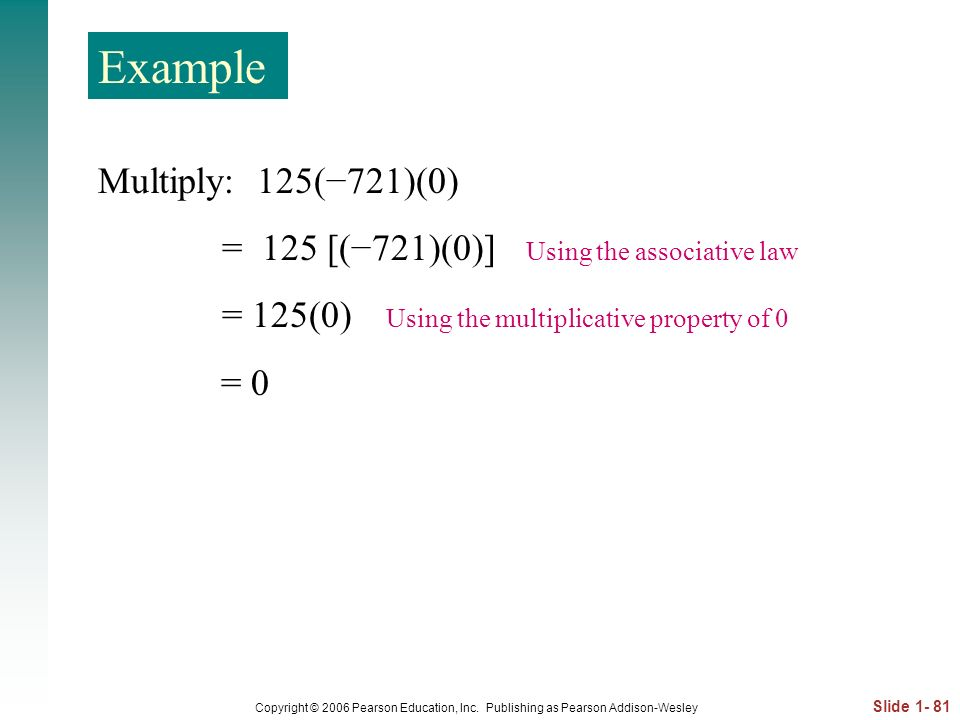 Example Multiply: 125(−721)(0)