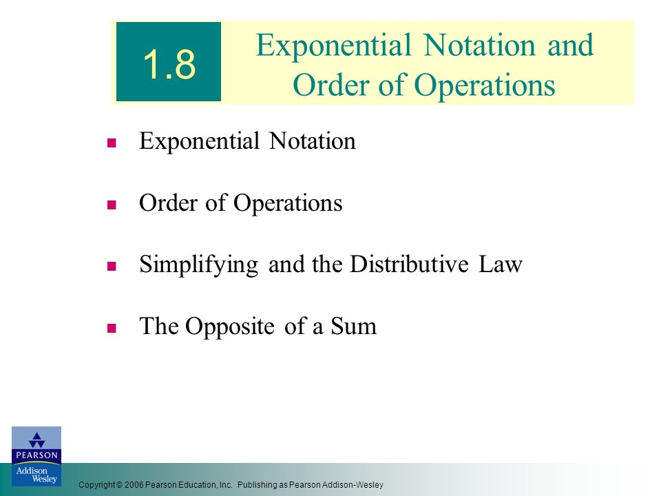 Exponential Notation and Order of Operations