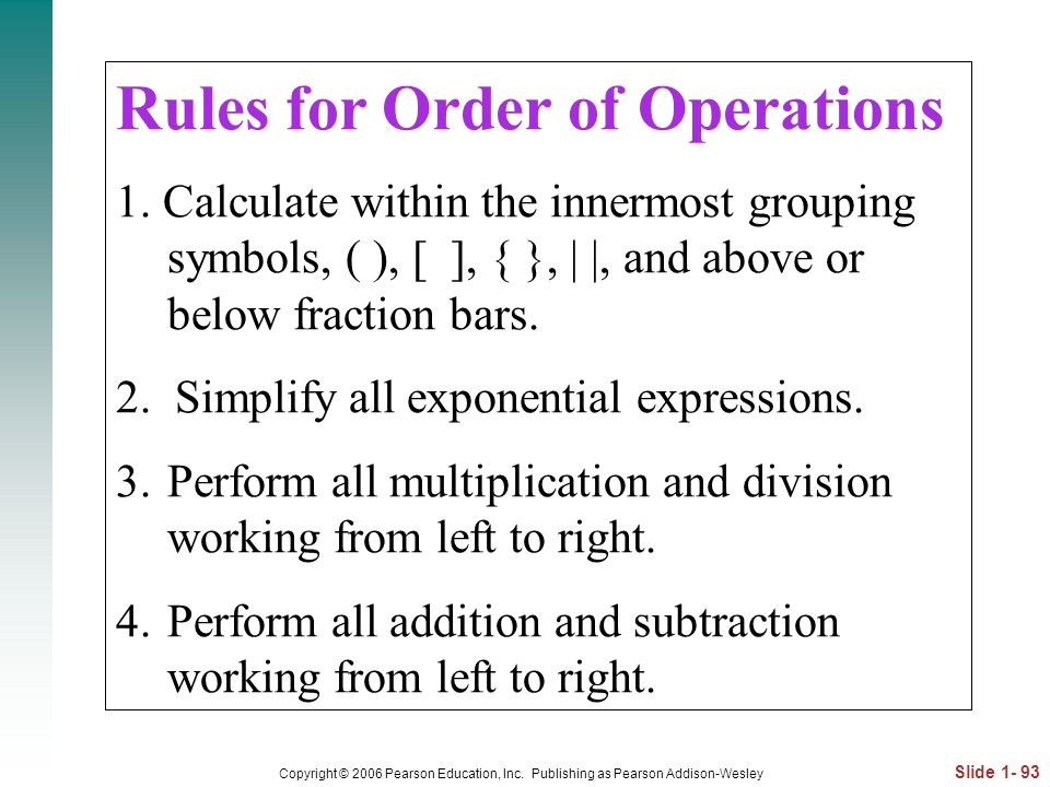 Rules for Order of Operations