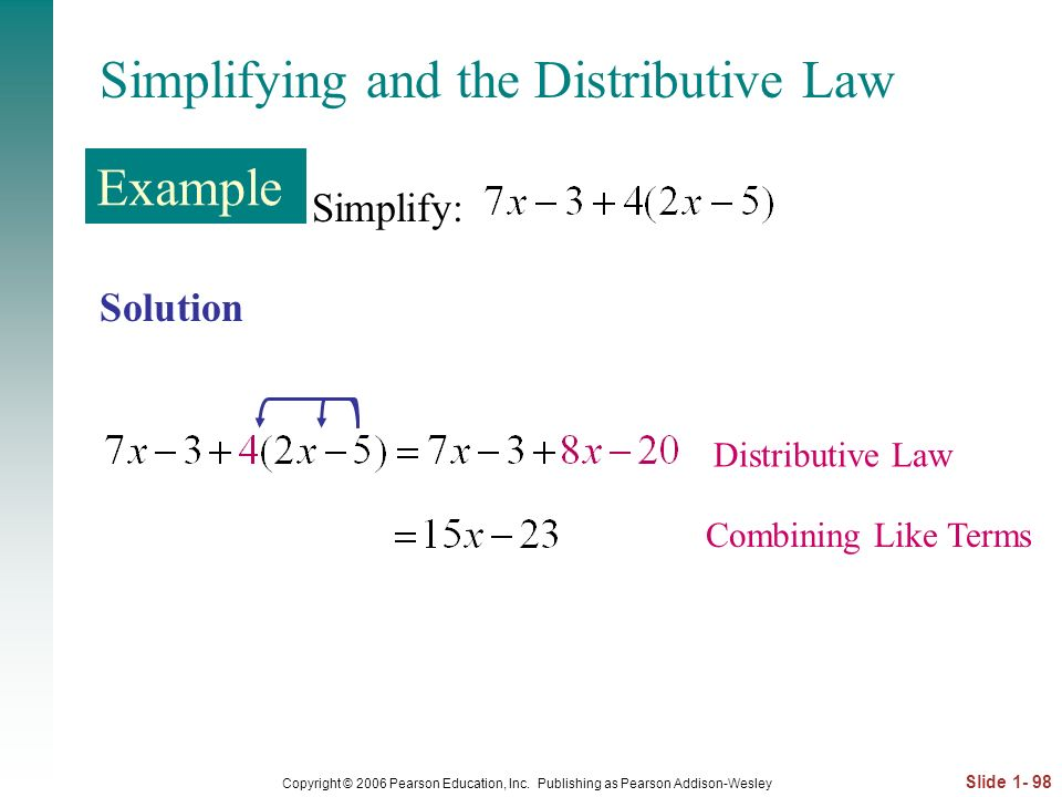 Simplifying and the Distributive Law