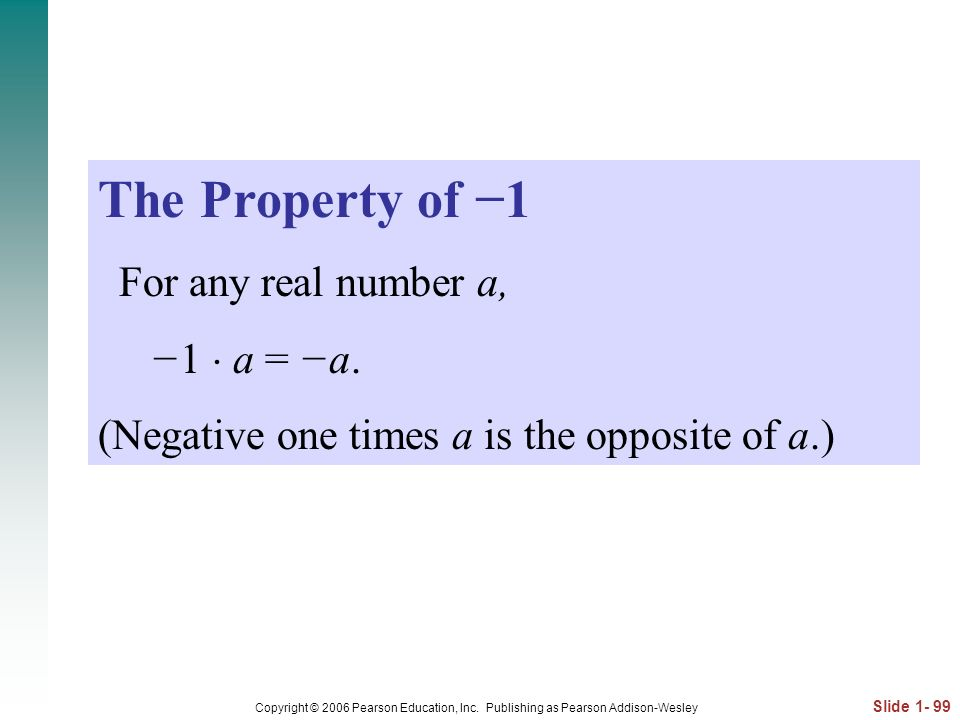 The Property of −1 For any real number a, −1  a = −a.