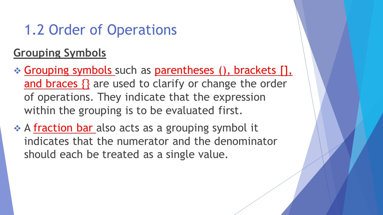 The language and tools of algebra ppt download 12 order of operations grouping symbols biocorpaavc Choice Image
