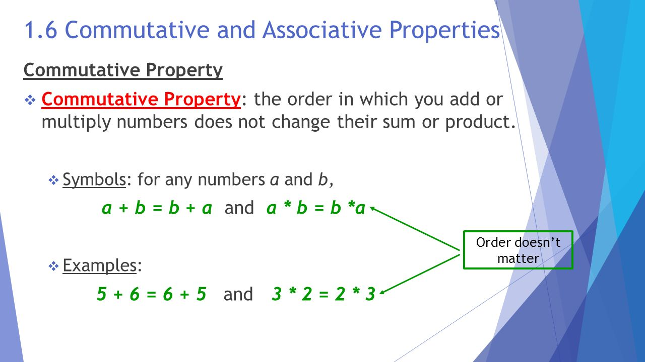 commutative properties Math properties - - commutative (commute to and from) - associative (hanging out with friends) - distributive (passing out candy) - identity (special) - inverse (opposite)&ltbr /&gtaligned to common core state standard: 6ee3.