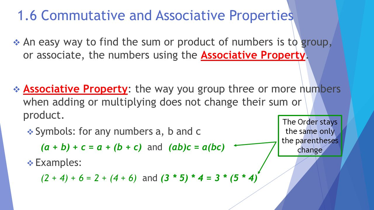 The language and tools of algebra ppt download 72 16 commutative and associative properties biocorpaavc Choice Image