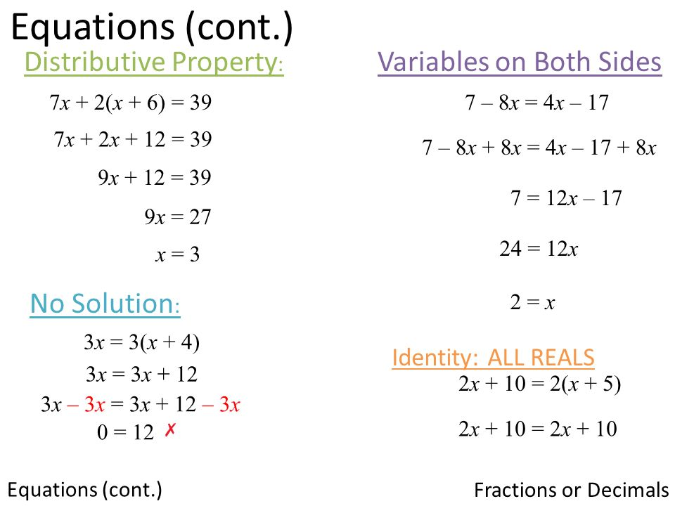 Equations With Variables On Both Sides And Distributive