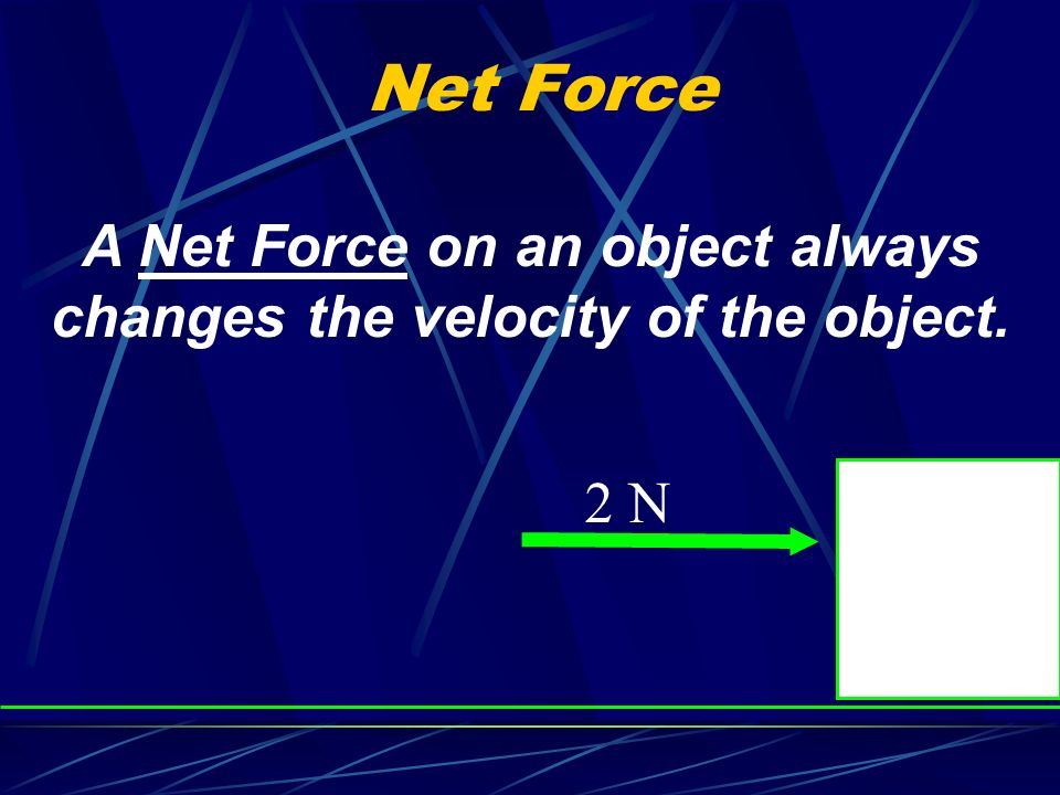 A Net Force on an object always changes the velocity of the object.