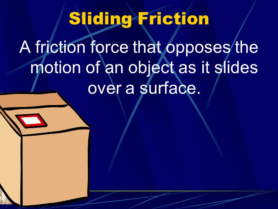 Sliding Friction A friction force that opposes the motion of an object as it slides over a surface.
