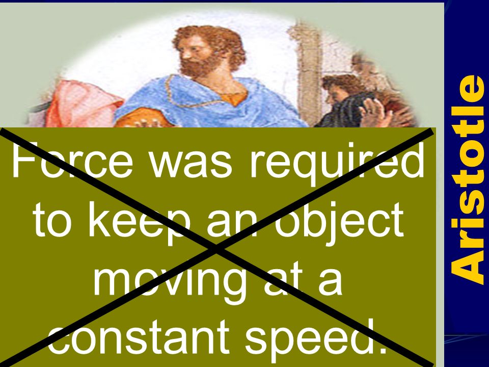 Force was required to keep an object moving at a constant speed.