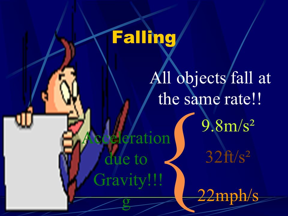 { Falling All objects fall at the same rate!! 9.8m/s² Acceleration