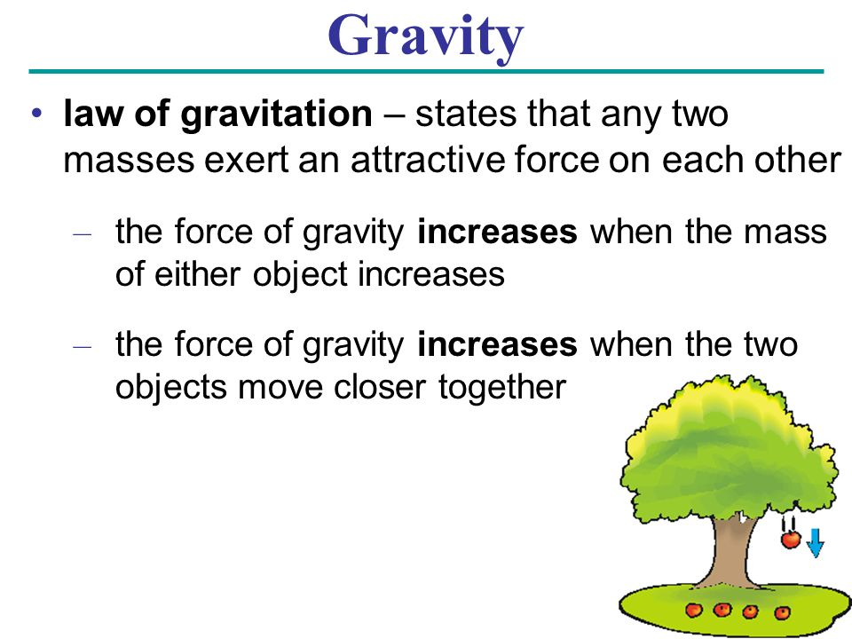 Gravity law of gravitation – states that any two masses exert an attractive force on each other.
