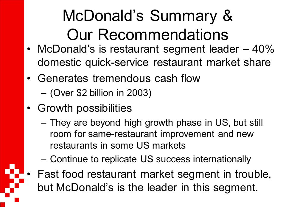 service overview of mcdonalds in morocco Executive summary overview retail sales foodservice sector distribution  channels  morocco is a priority market for canada, as its business environment  is one of the  services share of gdp, 553% gdp, 2012, world bank  modern  supermarkets and fast-food restaurants like mcdonald's, domino's and pizza hut.