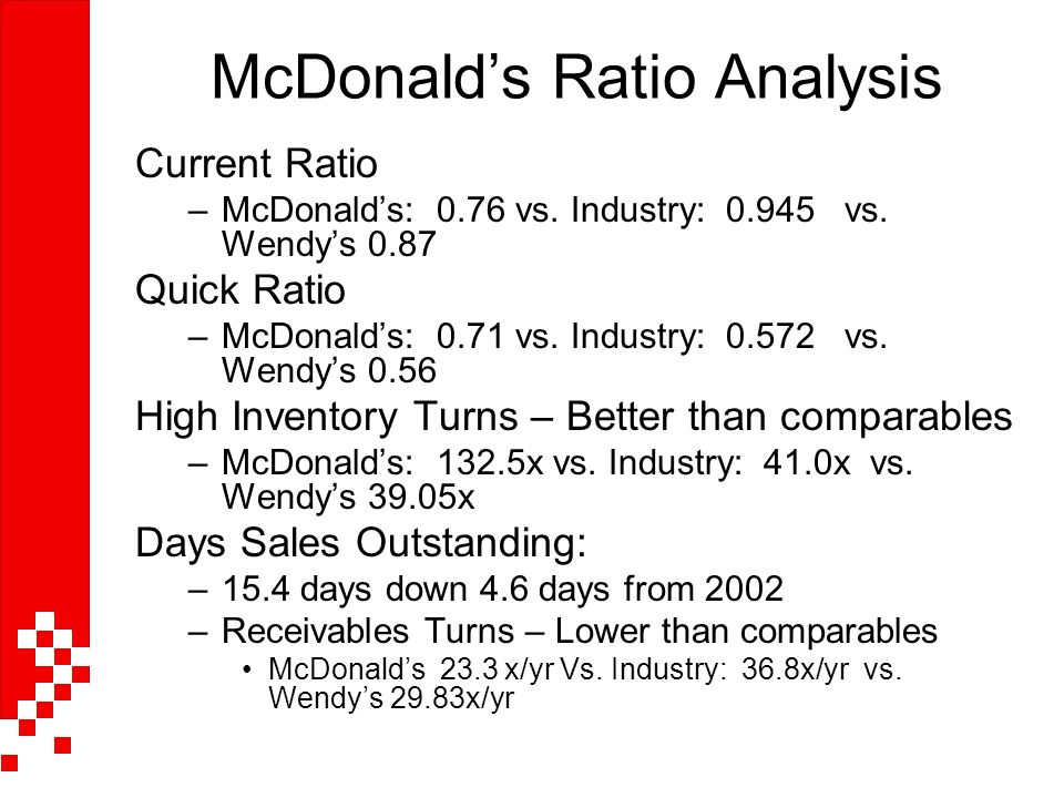 ratio analysis of starbucks vs mcdonalds Starbucks's quick, working capital, debt to equity, leverage and interest coverage ratio, comparisons to industry sector and s&p  industry, market analysis, stock .