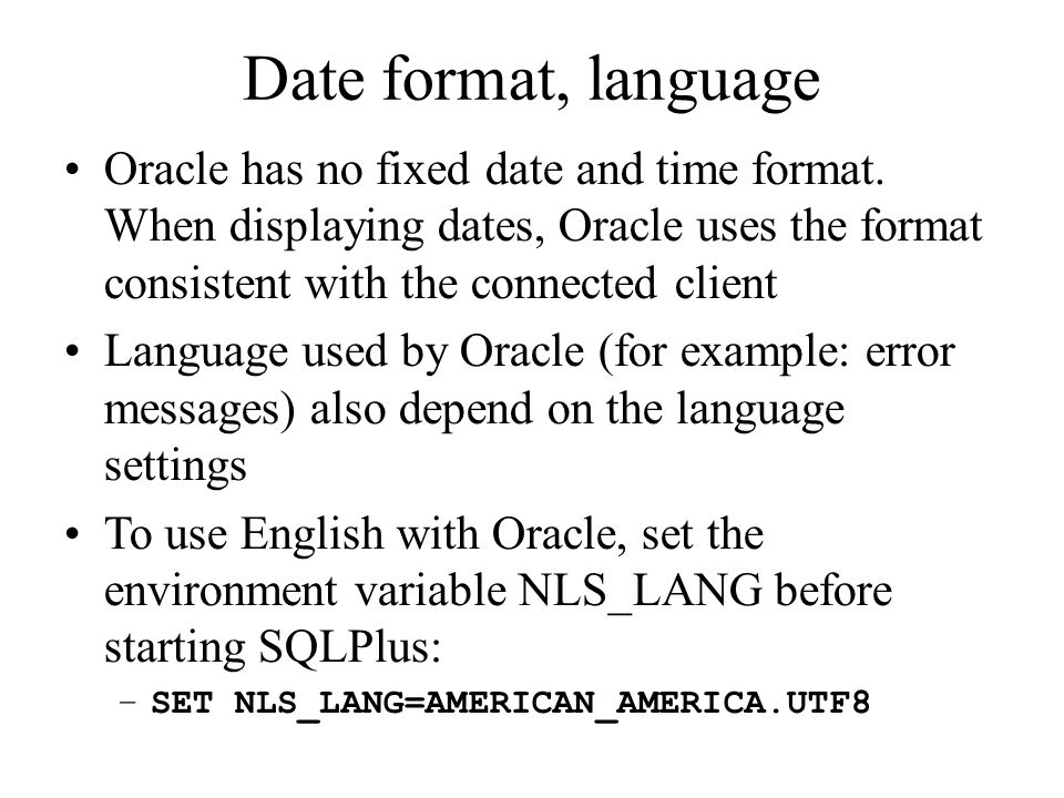 Date format in oracle in Sydney