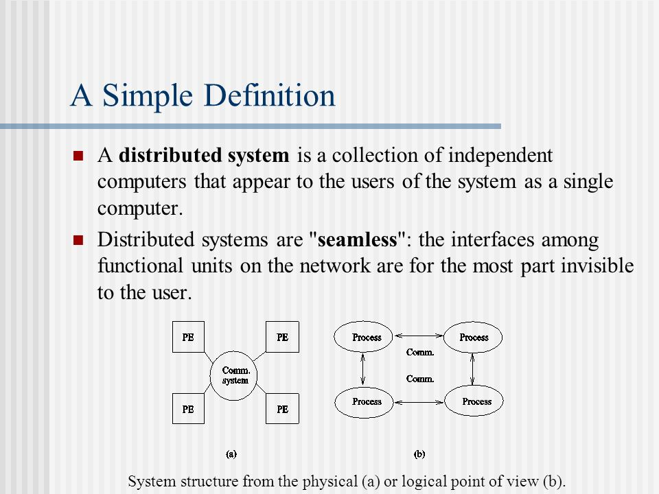 distributed systems definitions Distributed system[di′strib əd d ′sis əm] (computer science) a computer system consisting of a collection of autonomous computers linked by a network and equipped .
