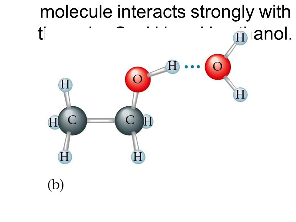 Figure 15.3: The polar water molecule interacts strongly with the polar O—H bond in ethanol.