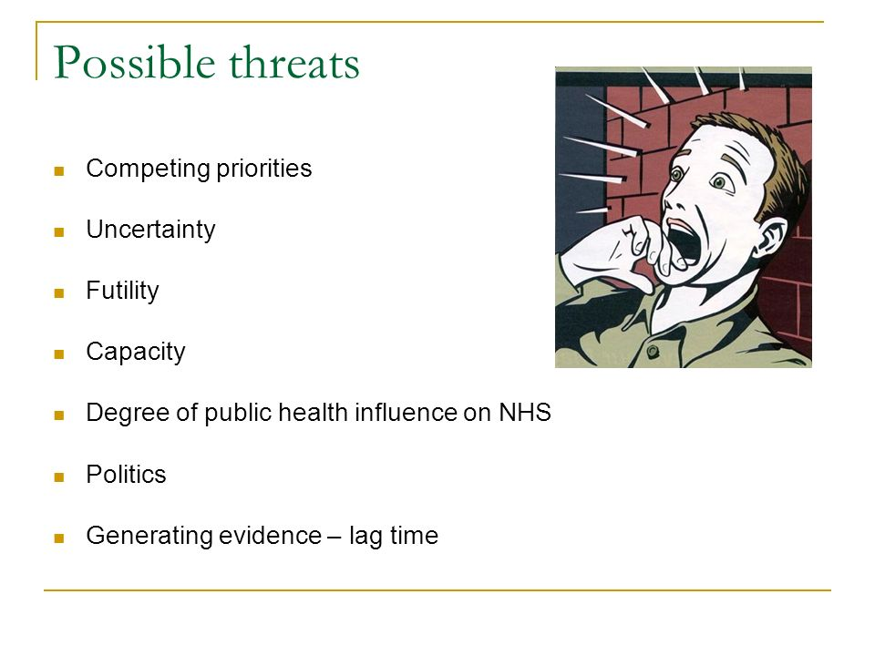 Possible threats Competing priorities Uncertainty Futility Capacity