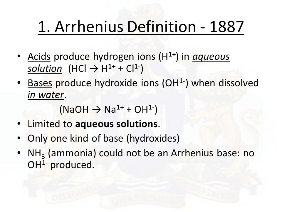 write arrhenius definition of an acid and a base