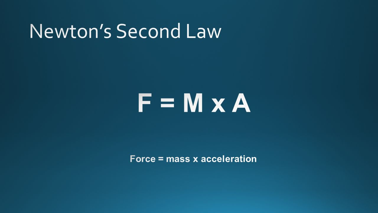 Force = mass x acceleration