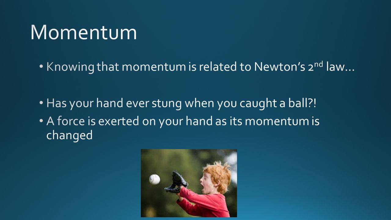 Momentum Knowing that momentum is related to Newton's 2nd law…