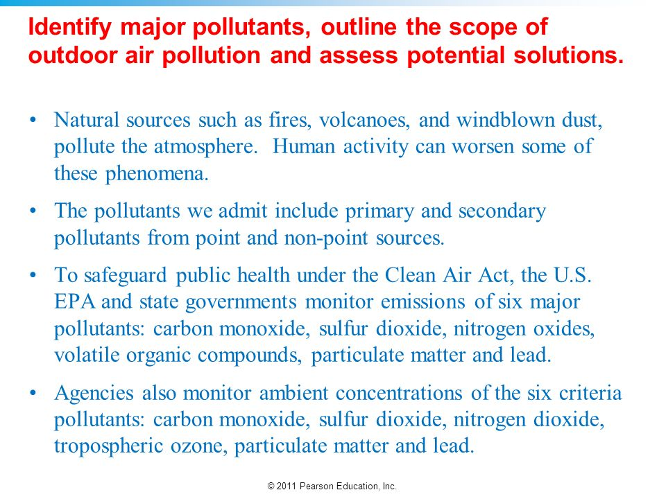 The identification and management of air pollutants