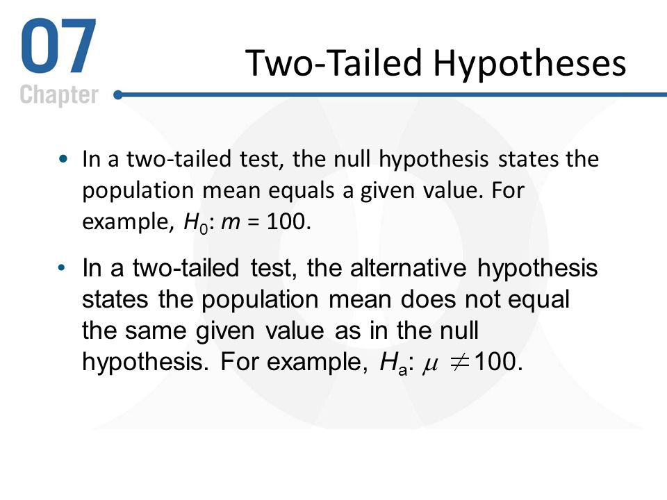 example of a test hypothesis for taste test One-tailed hypothesis test –a hypothesis test in which the population parameter is known to fall to the right or the left of center of the normal curve chapter 13 – 4 one-tailed tests • right-tailed test– a one-tailed test in which the sample statistic is hypothesized to be at the right tail of the sampling distribution chapter 13 – 5.