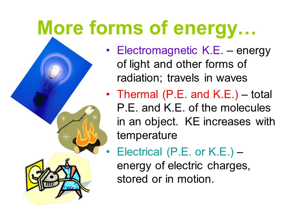 More forms of energy… Electromagnetic K.E. – energy of light and other forms of radiation; travels in waves.