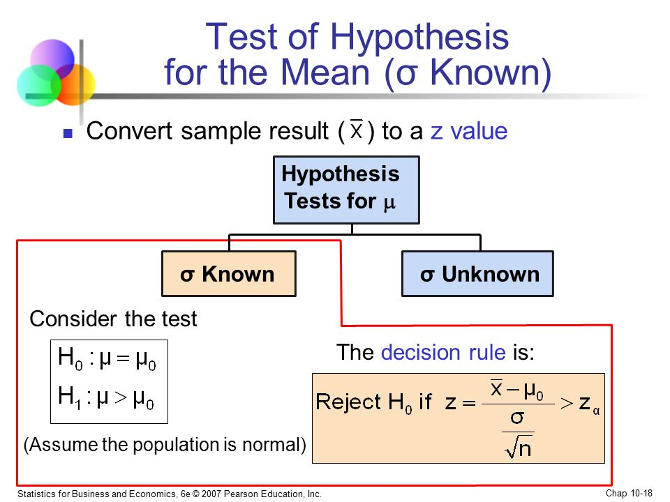 Test of Hypothesis for the Mean (σ Known)
