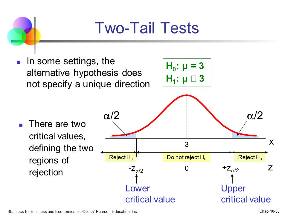 Two-Tail Tests In some settings, the alternative hypothesis does not specify a unique direction. H0: μ = 3 H1: μ ¹ 3.
