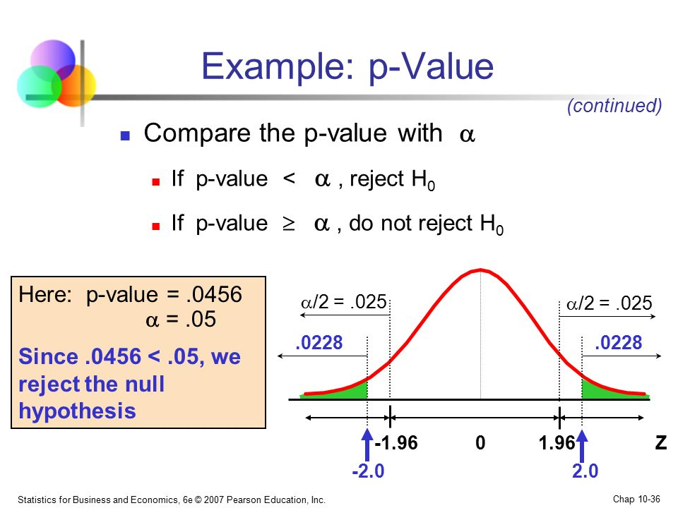 Example: p-Value Compare the p-value with 