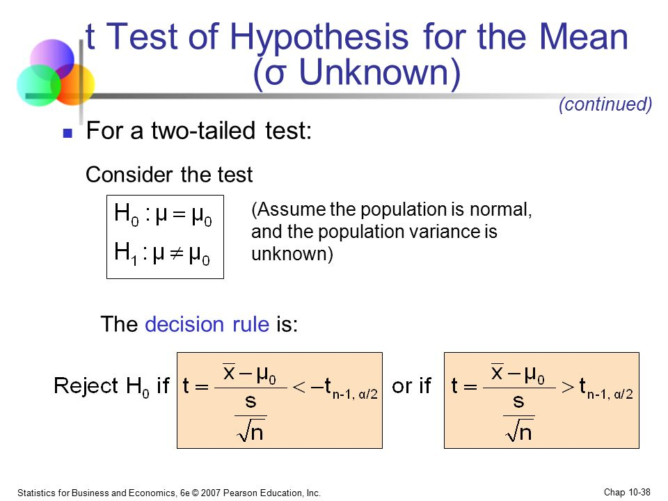 t test statistical hypothesis testing and mean The two-sample t-test we are testing the hypothesis that the two-sample t-tests are available in just about all general purpose statistical.
