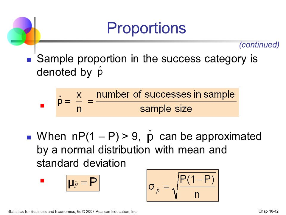 Proportions Sample proportion in the success category is denoted by