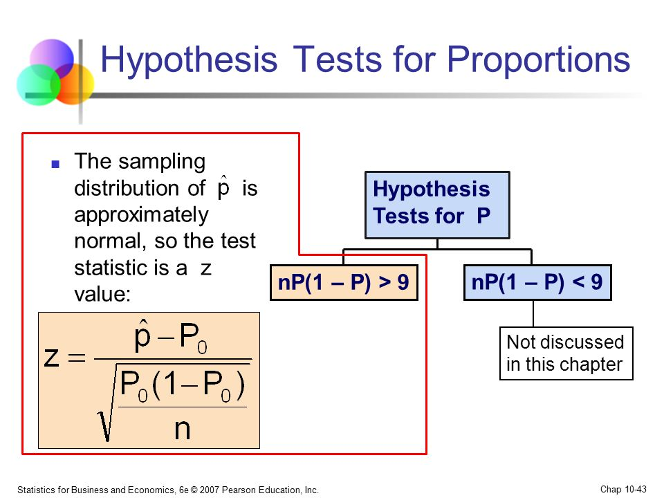 Hypothesis testing for means and proportions