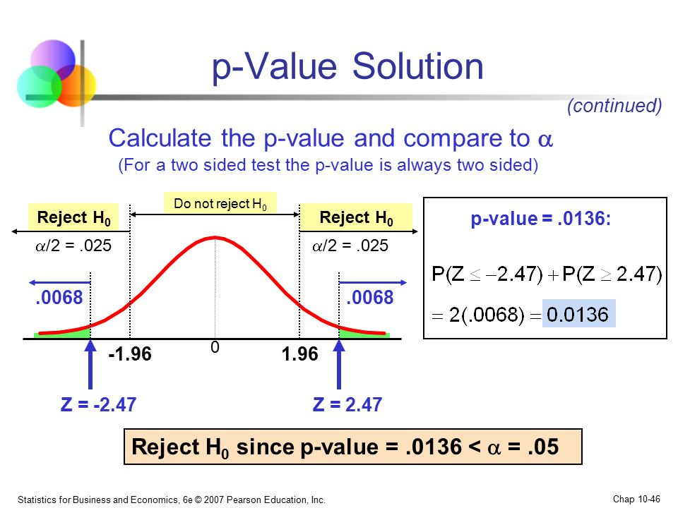 p-Value Solution Calculate the p-value and compare to 