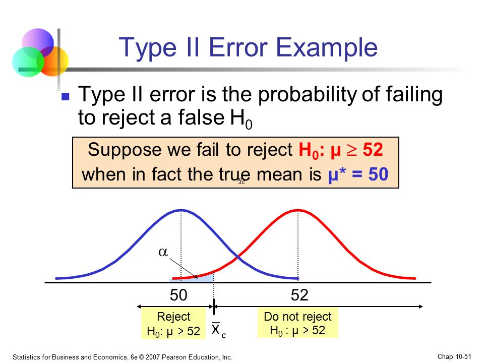 Type II Error Example Type II error is the probability of failing to reject a false H0. Suppose we fail to reject H0: μ  52.
