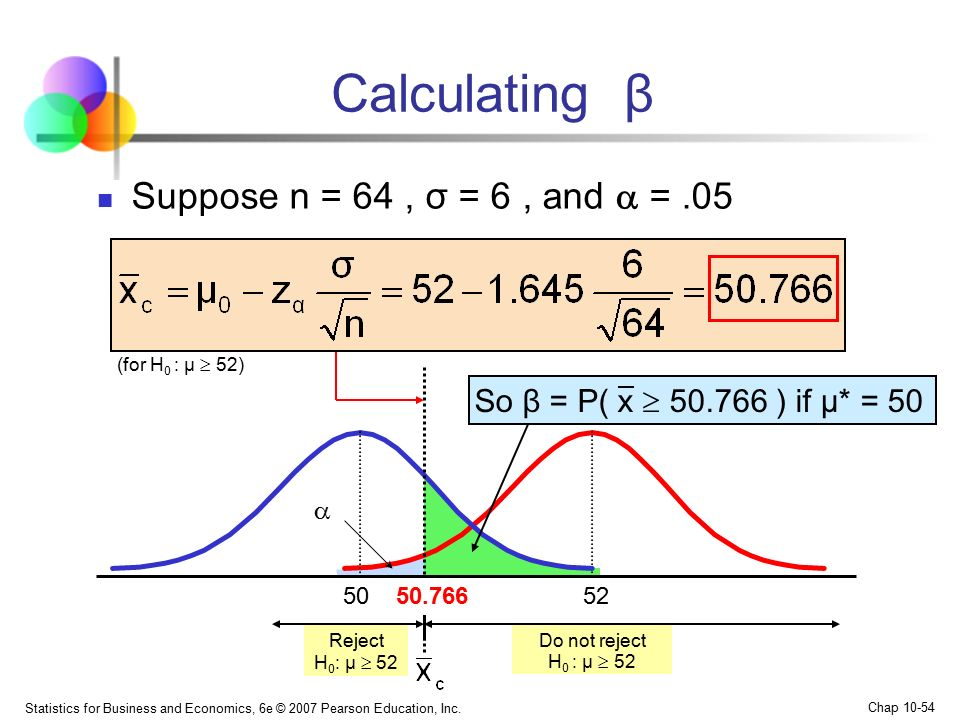 Calculating β Suppose n = 64 , σ = 6 , and  = .05