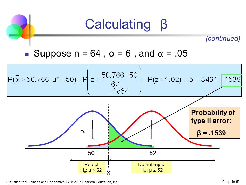 Calculating β Suppose n = 64 , σ = 6 , and  = .05 (continued)