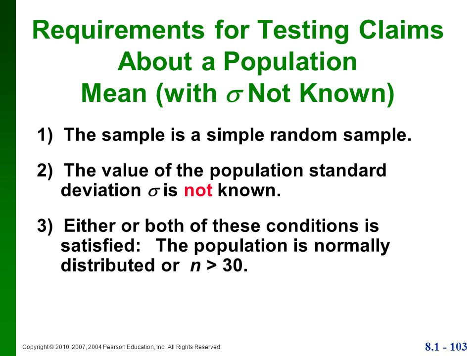 Requirements for Testing Claims About a Population Mean (with  Not Known)