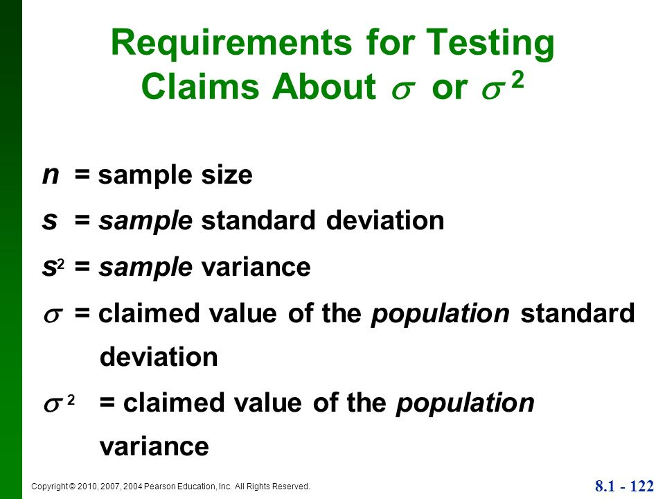 Requirements for Testing Claims About  or  2