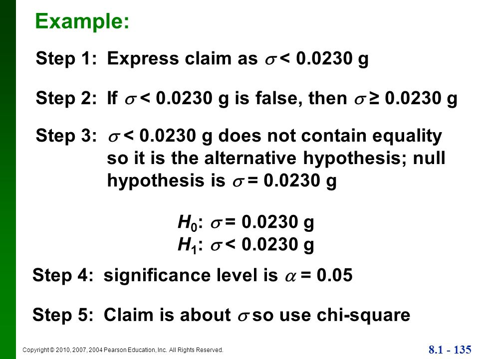 Example: Step 1: Express claim as  < g
